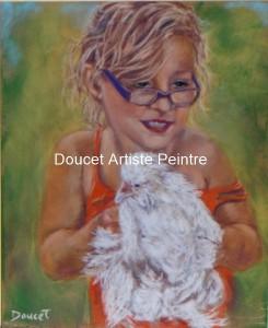 Angelique et sa poule Pastel sec encadré