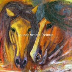 Rencontre 24 x 36 acrylique - Page couverture de l'agenda Plumes et Pinceaux Édition 2014