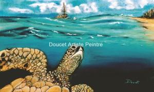 Tortue marine pastel sec (encadré)