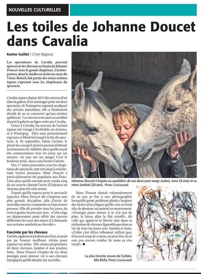 OeilRégional_Les toiles de Johanne Doucet dans Cavalia