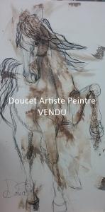 Cheval magique VI 24x48 fusain et acrylique (vendu)